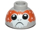 Part No: 20952pb02b  Name: Brick, Round 1 1/2 x 1 1/2 x 2/3 Dome Top with Porg Head, High Raised Feathers between Eyes Pattern