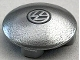 Part No: 2654pb018  Name: Plate, Round 2 x 2 with Rounded Bottom with Black VW Logo on Silver Background Pattern