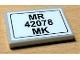 Part No: 26603pb110  Name: Tile 2 x 3 with 'MR 42078 MK' Pattern (Sticker) - Set 42078