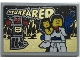 Part No: 26603pb160  Name: Tile 2 x 3 with Gold 'STARFARER', Robot and Minifigures with Ray Gun Pattern (Sticker) - Set 70657