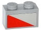 Part No: 3004pb118R  Name: Brick 1 x 2 with Red Triangle Pattern Model Right Side (Sticker) - Set 79121