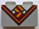 Part No: 3004pb169  Name: Brick 1 x 2 with Bright Light Orange and Dark Red V-Neck Collar and Tie and White Undershirt Pattern (BrickHeadz Hermione Granger / Ron Weasley Chest)