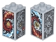 Part No: 30145pb018  Name: Brick 2 x 2 x 3 with Red and Dark Azure Flames, Red and Dark Azure Waves, Gray Dragon, Lion and Phoenix On All Sides Pattern (Stickers) - Set 70627