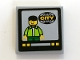 Part No: 3068bpb0187  Name: Tile 2 x 2 with Groove with TV Screen with Man and 'CITY' Pattern (Sticker) - Set 7639