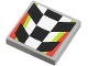 Part No: 3068bpb0594  Name: Tile 2 x 2 with Groove with Checkered Pattern with Red and Lime Border (Sticker) - Set 4433