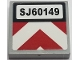 Part No: 3068bpb1254  Name: Tile 2 x 2 with Groove with 'SJ60149' License Plate and Red and White Chevron Caution Stripes Pattern (Sticker) - Set 60149