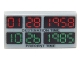 Part No: 3069bpb0289  Name: Tile 1 x 2 with Groove with Red '01 28 1958', Green '10 26 1985', Black 'DESTINATION TIME' and 'PRESENT TIME' Pattern