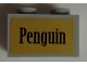 Part No: 32064pb03  Name: Technic, Brick 1 x 2 with Axle Hole with 'Penguin' Pattern (Sticker) - Set 7785