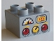 Part No: 3437pb075  Name: Duplo, Brick 2 x 2 with Red and Yellow Knobs, Gauge, and '123' Display Pattern