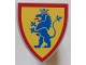Part No: 3846p4g  Name: Minifigure, Shield Triangular with Lion Standing Blue, and Yellow Background Pattern