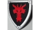 Part No: 3846pb035  Name: Minifigure, Shield Triangular with Red Dragon Head on Black Background Pattern