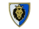 Part No: 3846pb036  Name: Minifigure, Shield Triangular with Black and Gold Lion Head with Crown on Blue and White Background Pattern
