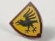 Part No: 3846pb047  Name: Minifigure, Shield Triangular with Black Raven on Bright Light Orange Background and Reddish Brown Border Pattern