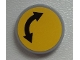 Part No: 4150pb138  Name: Tile, Round 2 x 2 with Black Curved Arrow Double on Yellow Background Pattern (Sticker) - Set 60026