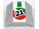 Part No: 44675pb004  Name: Slope, Curved 2 x 2 with 3 Side Ports Recessed with '21' and Red/Green Pattern (Sticker) - Set 8898