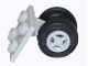 Part No: 4870c07  Name: Aircraft Plate, Modified 2 x 2 Thin with Dual Wheels Holder - Split Pins with Light Bluish Gray Wheels and Black Tires (4870 / 4624 / 59895)
