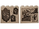 Part No: 49311pb09  Name: Brick 1 x 4 x 3 with Gray Paintings, Letter Holder with List, Drawings of Dragons, Zombie and Castle Pattern on Both Sides (Stickers) - Set 75810