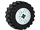 Part No: 55982c05  Name: Wheel 18mm D. x 14mm with Axle Hole, Fake Bolts and Shallow Spokes with Black Tire 30.4 x 14 Offset Tread Band Around Center of Tread (55982 / 92402)