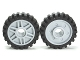 Part No: 56902c01  Name: Wheel 18mm D. x 8mm with Fake Bolts and Shallow Spokes with Black Tire Offset Tread - Band Around Center of Tread (56902 / 61254)