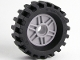 Part No: 56902c04  Name: Wheel 18mm D. x  8mm with Fake Bolts and Shallow Spokes with Black Tire 30 x 10.5 Offset Tread - Band Around Center of Tread (56902 / 56897)