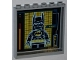 Part No: 59349pb057  Name: Panel 1 x 6 x 5 with 'READY' and Batman on Screen Pattern on Inside (Sticker) - Set 6860
