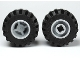 Part No: 6014bc05  Name: Wheel & Tire Assembly 11mm D. x 12mm, Hole Notched for Wheels Holder Pin with Black Tire Offset Tread Small Wide, Band Around Center of Tread (6014b / 87697)