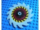Part No: 61403pb01  Name: Technic, Circular Saw Blade 9 x 9 with Pin Hole and Teeth in Same Direction with Black and Yellow Stripes and Dark Red Pattern (Sticker) - Set 8113