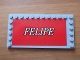 Part No: 6178pb029  Name: Tile, Modified 6 x 12 with Studs on Edges with White 'FELIPE' on Red Background Pattern (Sticker) - Set 8144