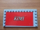 Part No: 6178pb030  Name: Tile, Modified 6 x 12 with Studs on Edges with White 'KIMI' on Red Background Pattern (Sticker) - Set 8144-2