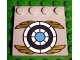 Part No: 6179pb054  Name: Tile, Modified 4 x 4 with Studs on Edge with Blue and White Target with Gold Wings Pattern