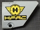Part No: 64680pb008  Name: Technic, Panel Fairing #14 Large Short Smooth, Side B with Black and Yellow Hero Factory Symbol and 'HFAC' Pattern (Sticker) - Set 7160