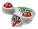 Part No: 85947pb01  Name: Minifigure, Head Modified Alien with Tongue and Red Eyes, Dark Green Scales Pattern (Squidman)