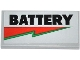 Part No: 87079pb0165  Name: Tile 2 x 4 with 'BATTERY' and Red and Green Lightning Bolt Pattern (Sticker) - Set 70809