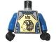 Part No: 973pb0346c02  Name: Torso Castle Knights Kingdom II Lion with Crown Pattern / Blue Arms / Black Hands