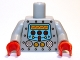 Part No: 973pb1061c01  Name: Torso Robot with Silver Rivets, Yellow Gauges, Red Knobs and Yellow Screen Pattern / Light Bluish Gray Arms / Red Hands