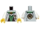Part No: 973pb1581c01  Name: Torso Ninjago Robe with Green Sash, Asian Characters and Gold Snake Emblem Pattern / White Arms / Yellow Hands