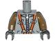 Part No: 973pb1788c01  Name: Torso Spacesuit with Silver Zipper and Orange Harness Pattern / Dark Tan Arms / Dark Bluish Gray Hands
