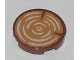 Part No: 14769pb196  Name: Tile, Round 2 x 2 with Bottom Stud Holder with Tree Trunk, Wood Grain Pattern