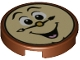 Part No: 14769pb234  Name: Tile, Round 2 x 2 with Bottom Stud Holder with Laughing Clock Face Pattern (Cogsworth)