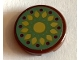 Part No: 14769pb331  Name: Tile, Round 2 x 2 with Bottom Stud Holder with Gold Petals and Magenta Dots on Sand Green Background Pattern (Sticker) - Set 41068