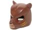 Part No: 18392pb08  Name: Minifigure, Headgear Mask Bear with Black Nose, Medium Nougat Face and Orange Slash Marks Pattern
