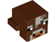 Part No: 19727pb003  Name: Plate, Modified 1 x 2 with Cube with Light and Dark Bluish Gray Pixelated Face Pattern (Minecraft Cow)