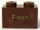 Part No: 3004pb074  Name: Brick 1 x 2 with Gold 'FIRST' Pattern (Sticker) - Set 10194