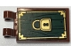 Part No: 30350bpb079  Name: Tile, Modified 2 x 3 with 2 Clips with Gold Lock on Dark Green Wood Grain Pattern (Sticker) - Set 79013