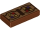 Part No: 3069bpb0659  Name: Tile 1 x 2 with Groove with Dark Brown Rectangle and Angled Lines and Dark Purple, Gold and Red Dots Pattern (BrickHeadz Albus Dumbledore Robe Trim)