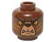 Part No: 3626cpb1357  Name: Minifigure, Head Alien Chima Bear with Black Nose, Orange Eyes, Medium Nougat and Orange Slash Marks Pattern (Bladvic) - Hollow Stud