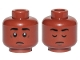 Part No: 3626cpb2355  Name: Minifigure, Head Dual Sided Black Eyebrows, White Pupils, Sad / Closed Eyes Pattern (Finn) - Hollow Stud