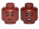 Part No: 3626cpb2593  Name: Minifigure, Head Dual Sided Female, Dark Brown Lips, Black Eyebrows, Neutral / Angry Pattern - Hollow Stud