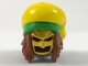 Part No: 36853pb01  Name: Minifigure, Hair Combo, Long Dreadlocks, Gold Batman Cowl, Large Floppy Hat with Bright Green Rim and Red Splotch Pattern