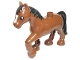 Part No: 5376pb01  Name: Duplo Horse with one Stud and Raised Hoof with White Blaze and Black Mane and Tail Pattern
